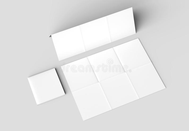 12 Page Leaflet - French Fold Square Brochure Mock Up Isolated O ...