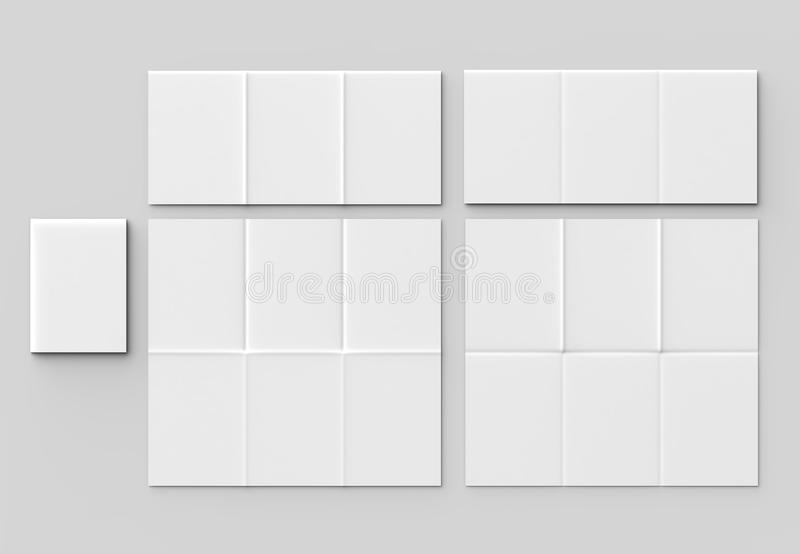 12 page leaflet - French fold vertical brochure mock up isolated. On soft gray background. 3D illustrating royalty free stock image