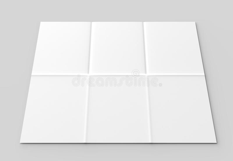 12 page leaflet - French fold vertical brochure mock up isolated. On soft gray background. 3D illustrating royalty free stock photos