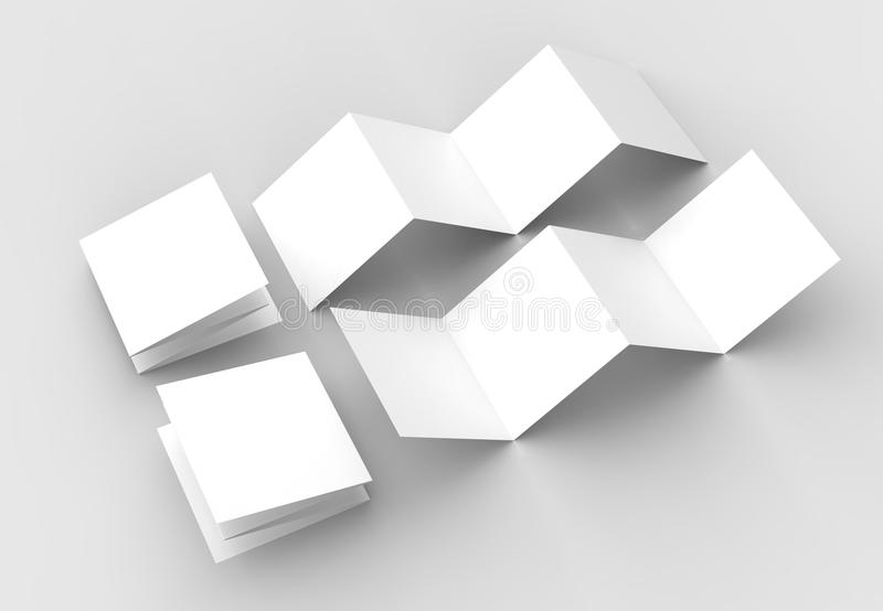 8 page leaflet, 4 panel accordion fold square brochure mock up i. Solated on light gray background. 3D illustrating royalty free illustration