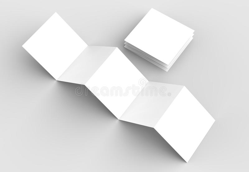 10 page leaflet, 5 panel accordion fold square brochure mock up. Isolated on light gray background. 3D illustrating vector illustration