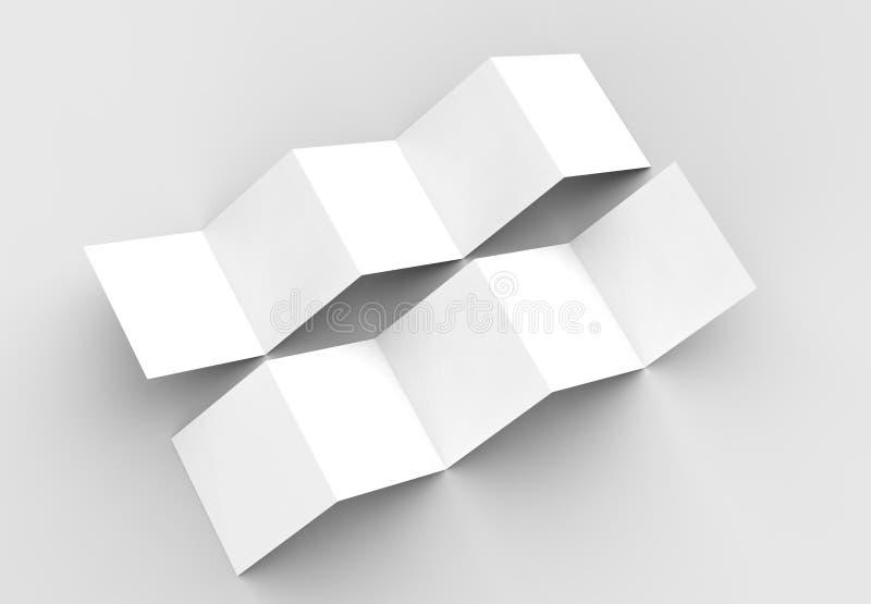 10 page leaflet, 5 panel accordion fold square brochure mock up vector illustration