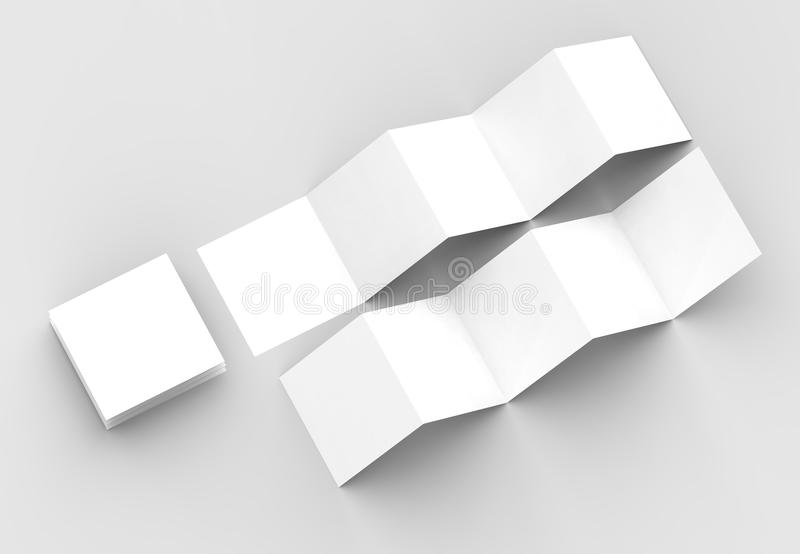 10 page leaflet, 5 panel accordion fold square brochure mock up. Isolated on light gray background. 3D illustrating royalty free illustration