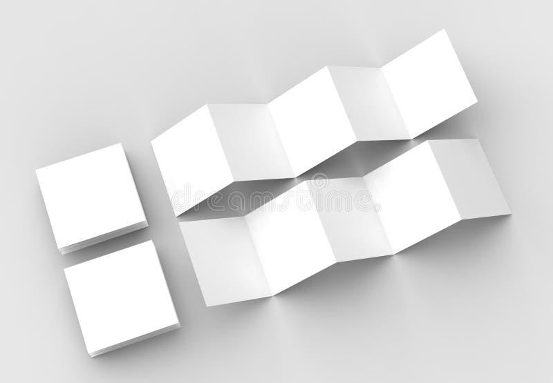 10 page leaflet, 5 panel accordion fold square brochure mock up stock illustration