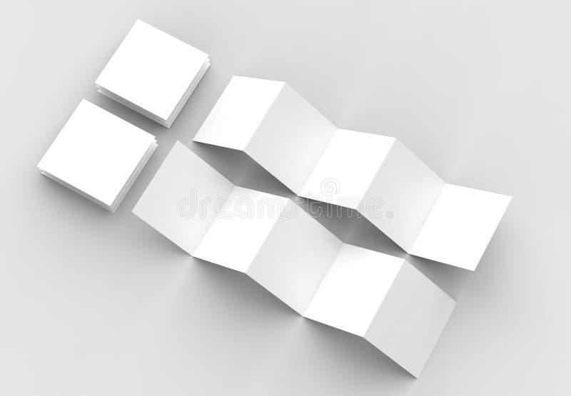 10 page leaflet, 5 panel accordion fold square brochure mock up. Isolated on light gray background. 3D illustrating stock illustration