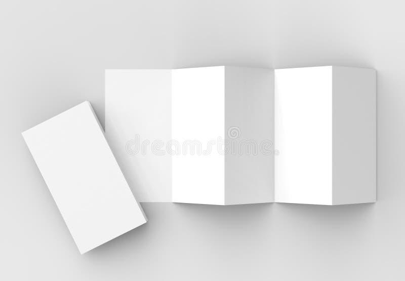 10 page leaflet, 5 panel accordion fold vertical brochure mock u royalty free illustration