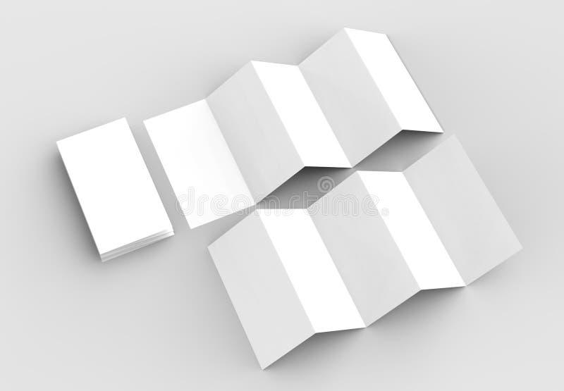 10 page leaflet, 5 panel accordion fold vertical brochure mock u. P isolated on light gray background. 3D illustrating stock illustration