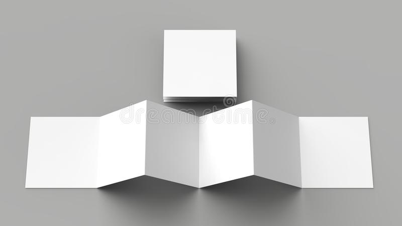 12 page leaflet, 6 panel accordion fold - Z fold square brochure. Mock up isolated on gray background. 3D illustration vector illustration
