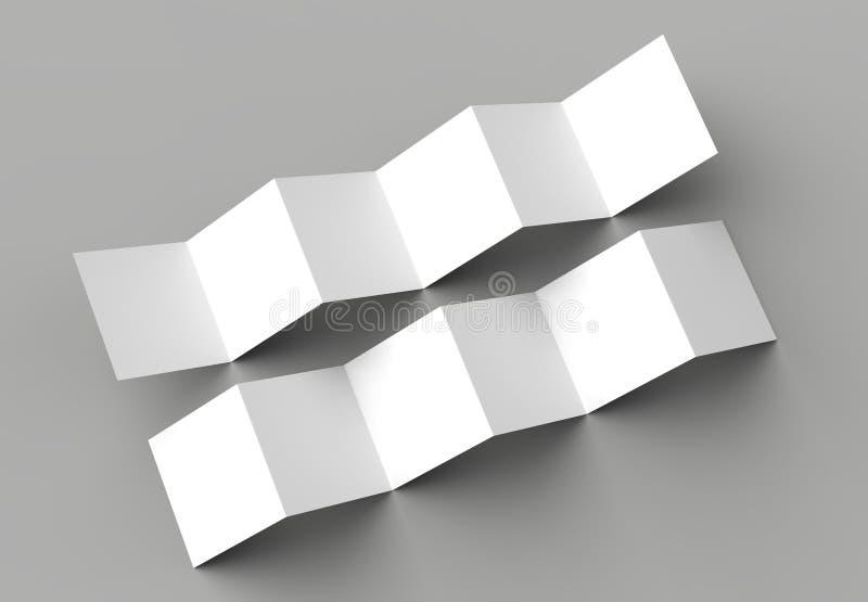 12 page leaflet, 6 panel accordion fold - Z fold square brochure stock illustration