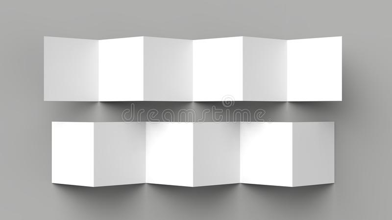 12 page leaflet, 6 panel accordion fold - Z fold square brochure. Mock up isolated on gray background. 3D illustration stock illustration