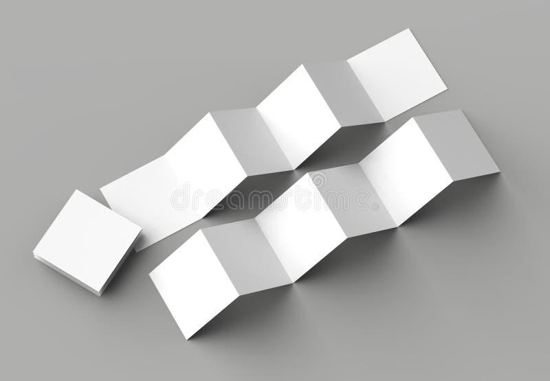 12 page leaflet, 6 panel accordion fold - Z fold square brochure. Mock up isolated on gray background. 3D illustration stock illustration