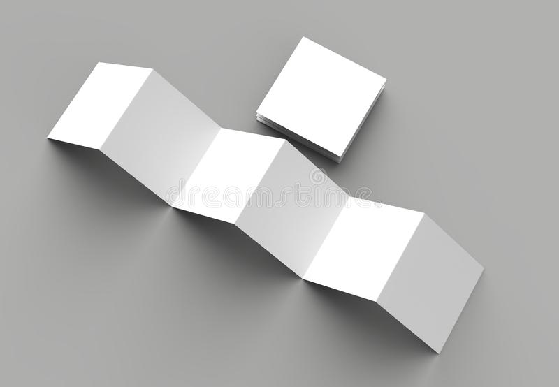 12 page leaflet, 6 panel accordion fold - Z fold square brochure. Mock up isolated on gray background. 3D illustration royalty free illustration