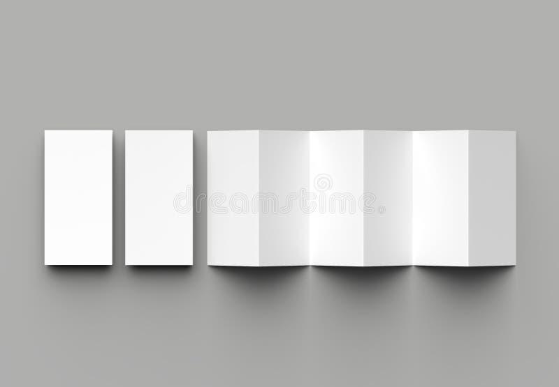 12 page leaflet, 6 panel accordion fold - Z fold vertical brochure mock up isolated on gray background. 3D illustration.  stock illustration