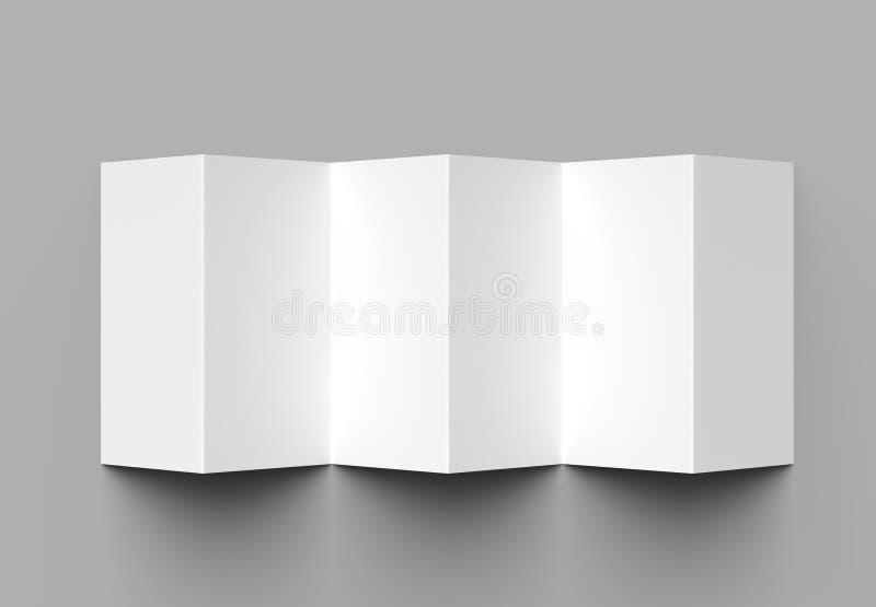 12 page leaflet, 6 panel accordion fold - Z fold vertical brochure mock up isolated on gray background. 3D illustration.  vector illustration