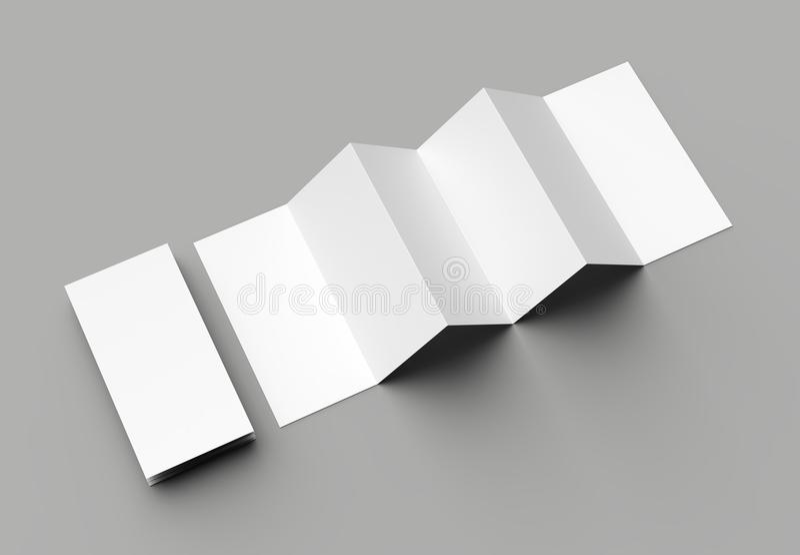 12 page leaflet, 6 panel accordion fold - Z fold vertical brochure mock up isolated on gray background. 3D illustration vector illustration