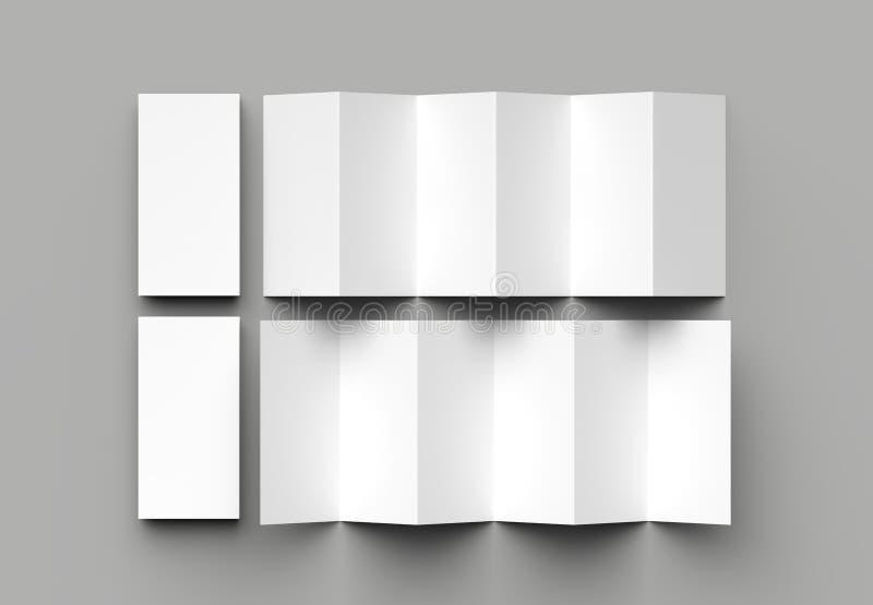 12 page leaflet, 6 panel accordion fold - Z fold vertical brochure mock up isolated on gray background. 3D illustration.  royalty free illustration