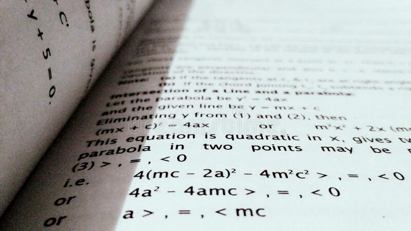 Page in math textbook royalty free stock images