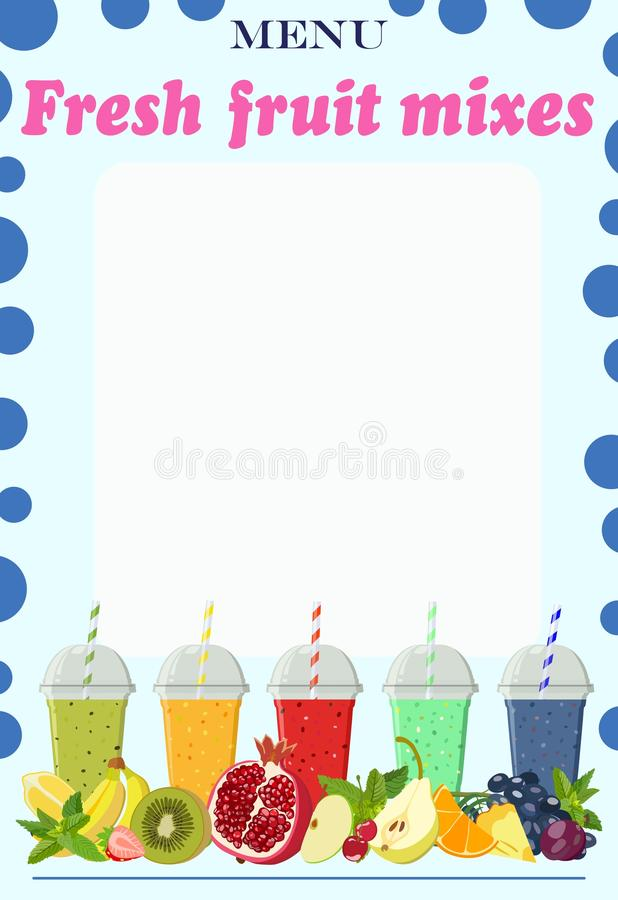 Page for the menu with moktejliami from fresh fruit. Vector illustration. Color vector image of menu page with non-alcoholic cocktails in cups based on fruit stock illustration