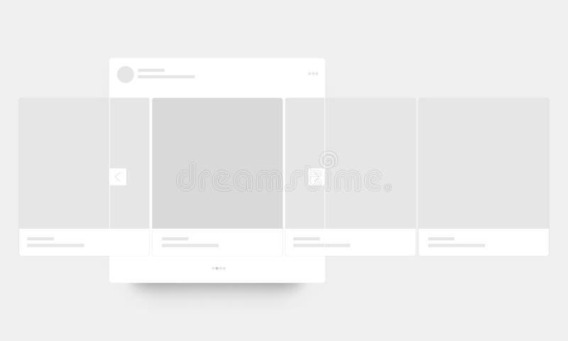 Page mobile avec le courrier de carrousel d'interface illustration stock