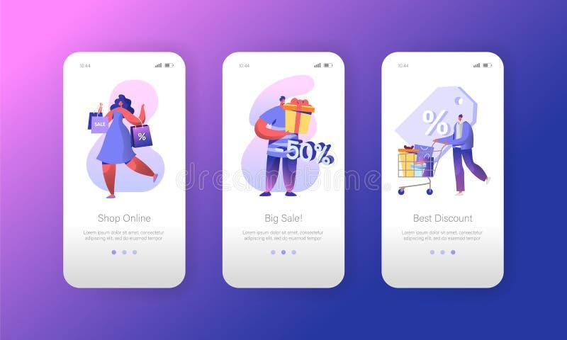 Page mobile d'appli d'achats de vente de client d'homme à bord d'ensemble d'écran Remise commerciale d'achat de caractère de femm illustration de vecteur