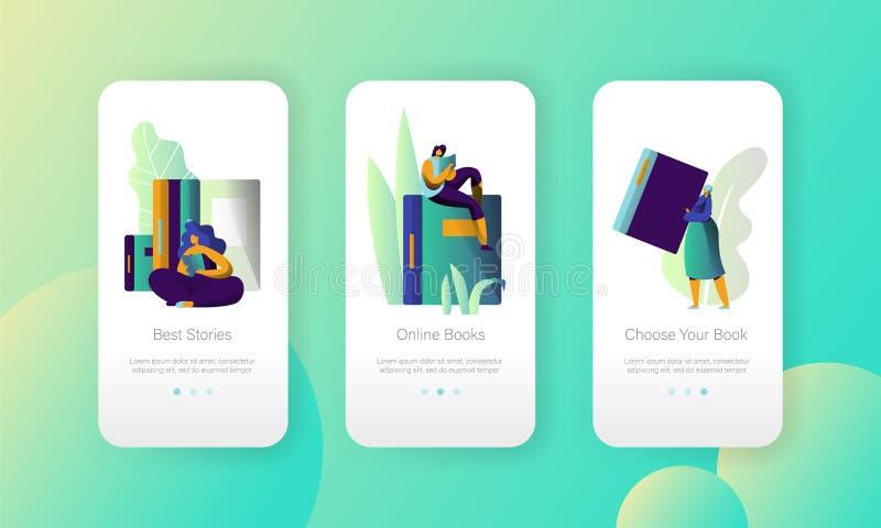 Page mobile d'appli d'Ebook d'université moderne en ligne de bibliothèque à bord d'ensemble d'écran Lecteur de livre de Digitals  illustration de vecteur