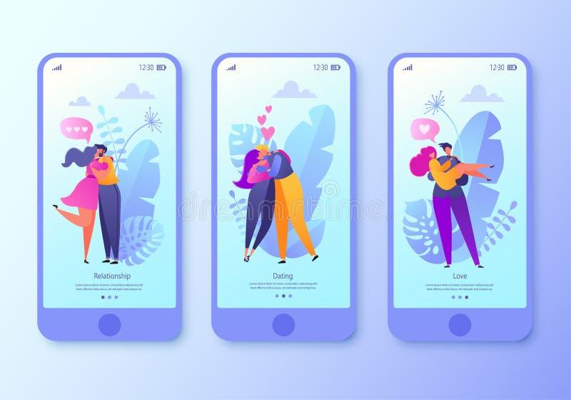 Page mobile d'appli d'illustration romantique de vecteur, ensemble d'écran Étreinte et baiser plats heureux de caractère de perso illustration stock