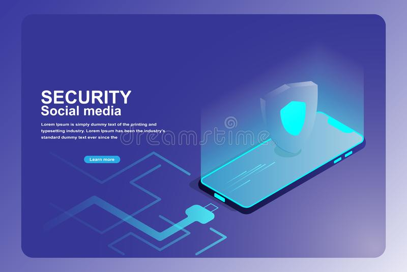Page mobile d'atterrissage de protection de protection des données 3d isométrique de téléphone intelligent avec le bouclier de ga illustration de vecteur