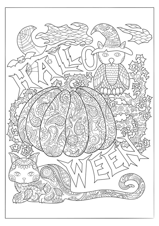 Page noire et blanche de coloration de Halloween avec le hibou en chapeau, chat et potiron de magicien illustration stock