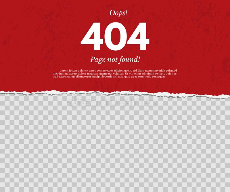 404 page not found concept. Red torn paper with text isolated on transparent background. Vector design element. royalty free illustration
