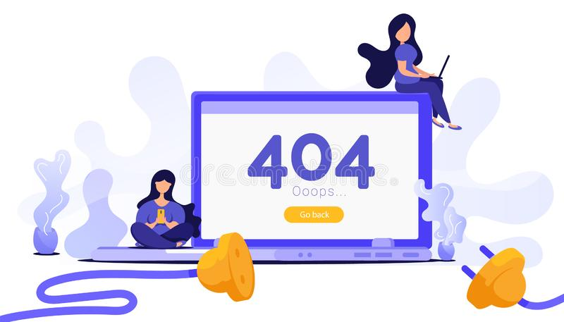 Page not found. Creative concept with a computer, people work with gadgets, disconnecting the Internet from the network royalty free illustration