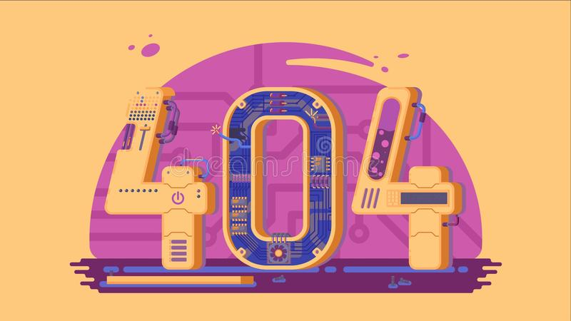 Page not found error 404 vector concept with robots and machinery. Web page error, illustration mechanical mechanism page error royalty free illustration