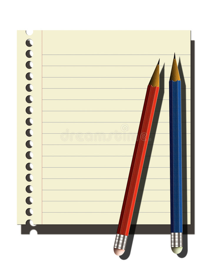 Page of notebook,2 pencils royalty free stock photos
