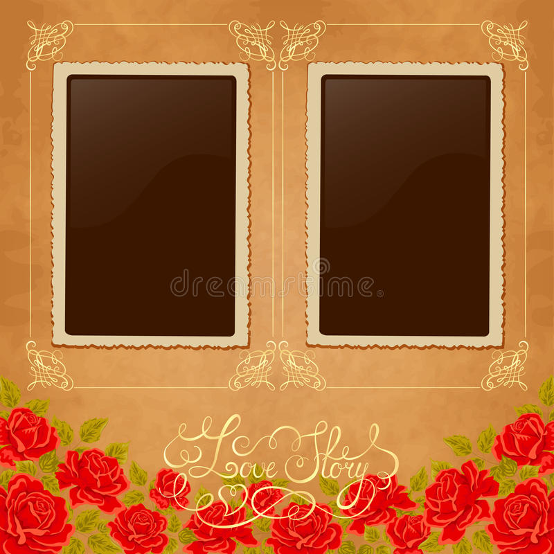 Free Page Of Photo Album. Vintage Background With Old Paper, Photoframe, And Red Roses. Royalty Free Stock Photo - 65668905