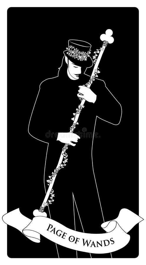 Page ou valet des baguettes magiques avec le chapeau supérieur tenant un bâton avec des fleurs et des feuilles Cartes de tarot mi illustration stock