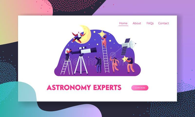 Page, personnes observant sur la lune et étoiles d'atterrissage de site Web de la Science d'astronomie au télescope, étudiant l'e illustration libre de droits