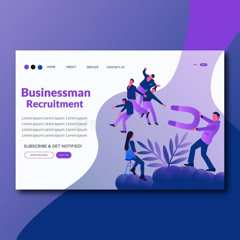 Page plate d'atterrissage de recrutement d'homme d'affaires d'illustration de vecteur de recrutement d'homme d'affaires illustration libre de droits