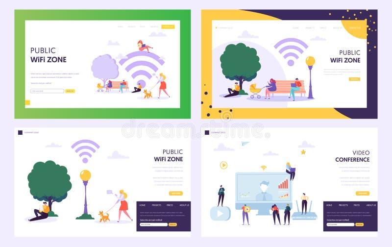 Page publique d'atterrissage de concept de zone de point névralgique de WiFi Internet d'utilisation de mâle et de personnage fémi illustration stock