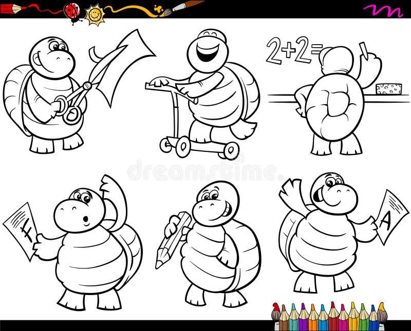 Page réglée de coloration de bande dessinée de tortue d'école illustration libre de droits