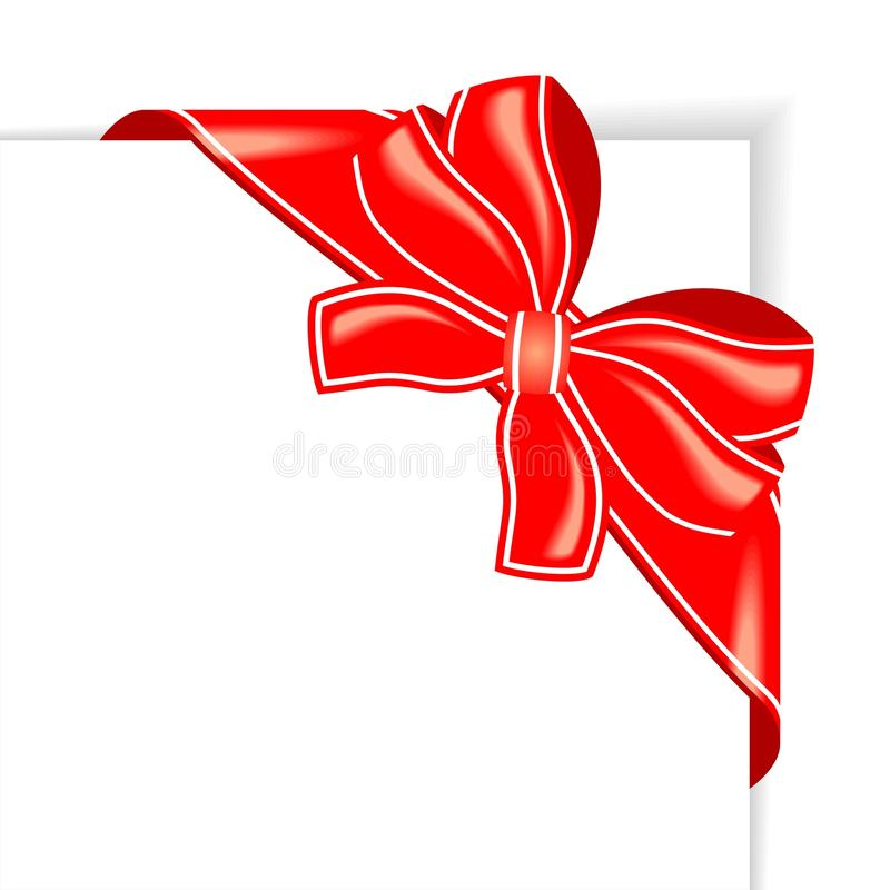 Page With Red Ribbon And Bow Corner Stock Photography