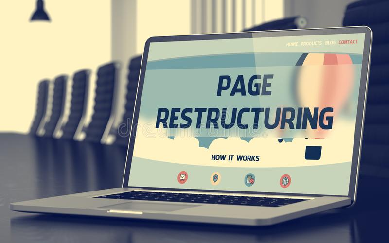 Page Restructuring on Laptop in Conference Hall. 3d. Page Restructuring. Closeup Landing Page on Mobile Computer Screen. Modern Meeting Hall Background. Blurred royalty free stock photos