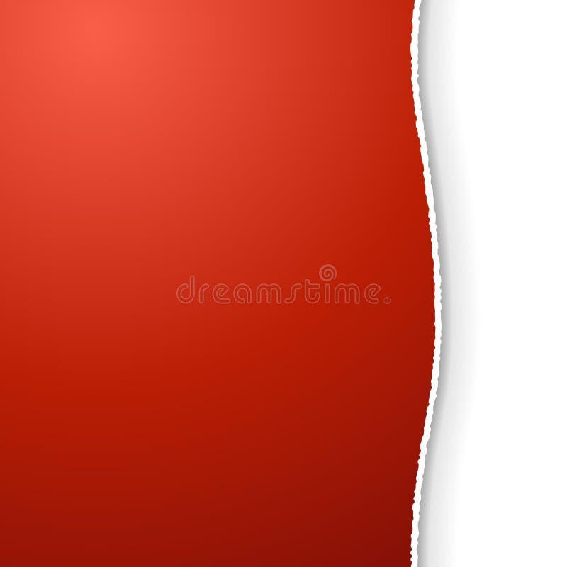 Page rouge avec le bord déchiré illustration stock