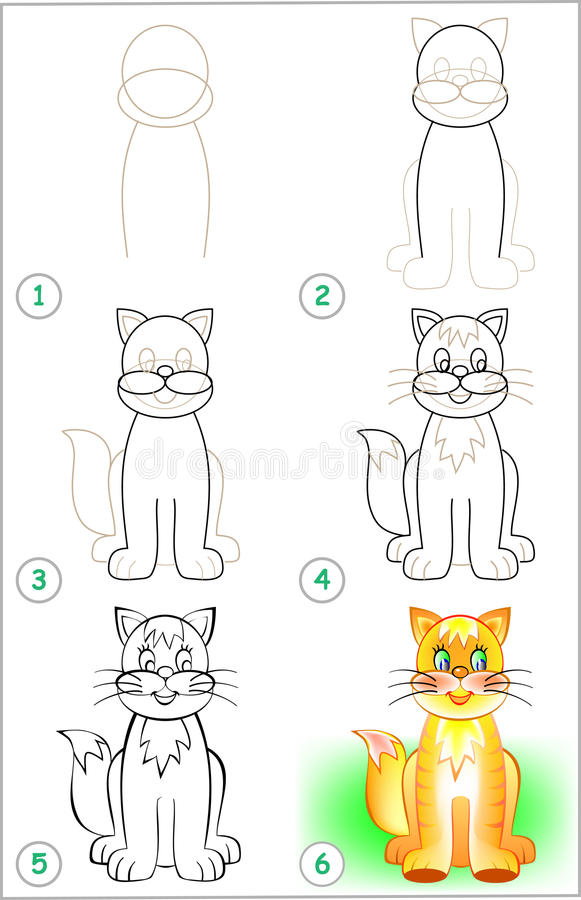 Page shows how to learn step by step to draw a cat. vector illustration