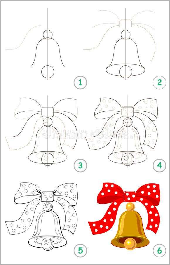 Page shows how to learn step by step to draw a cute bell with a bow. Developing children skills for drawing and coloring. stock illustration
