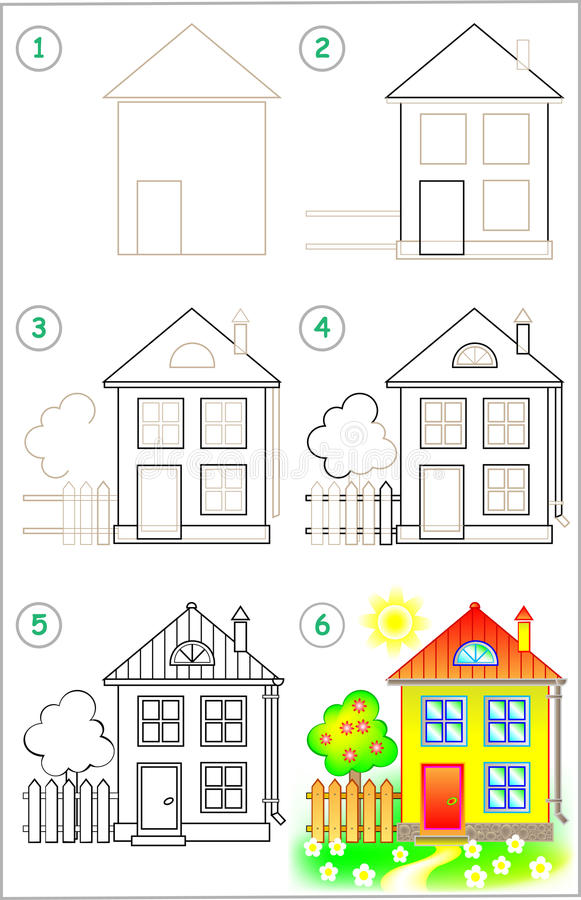 Page shows how to learn step by step to draw a house for Draw your house