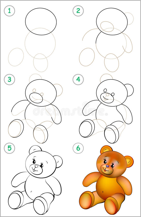 Download page shows how to learn step by step to draw a teddy bear stock