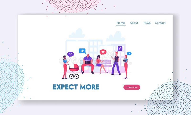 Page sociale d'atterrissage de site Web de mise en réseau, communication de caractères par l'intermédiaire d'Internet sur le fond illustration stock
