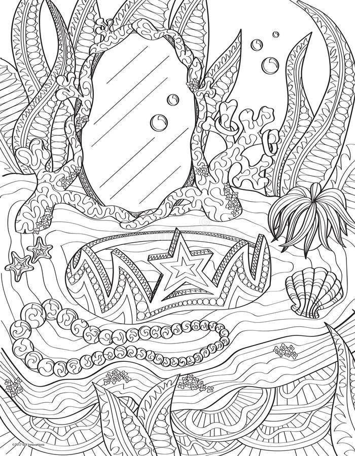 Page sous-marine de livre de coloriage de vanité images stock