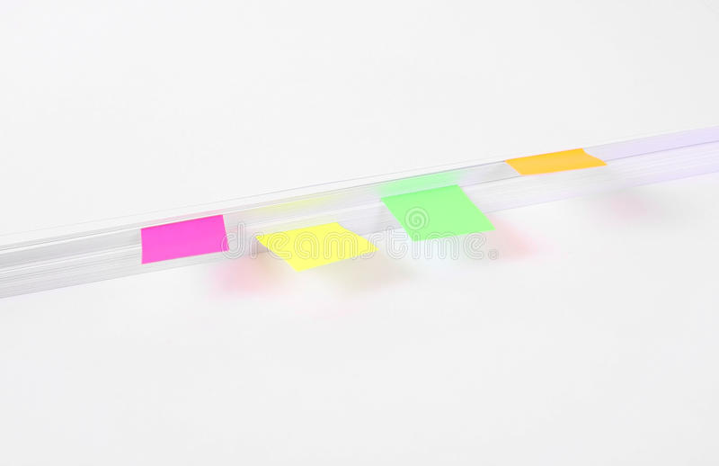 Page stickers on paper sheets royalty free stock photos