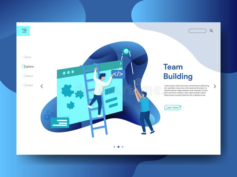 Page Team Building d'atterrissage illustration de vecteur