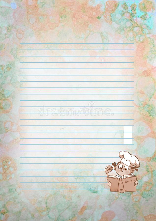 Page for the text of a cookbook. The illustration shows the page for the text of a cookbook, a collection of recipes with a cute cartoon chef on an abstract stock illustration